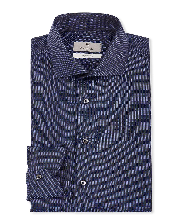 Men's Pindot Cotton Dress Shirt