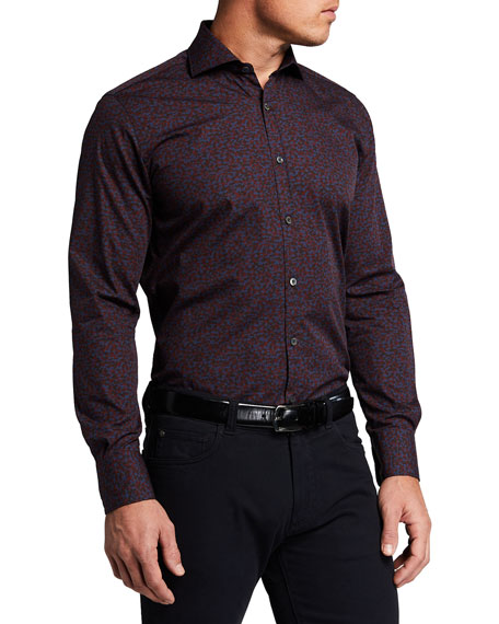 Canali Men's Mixed Print Sport Shirt