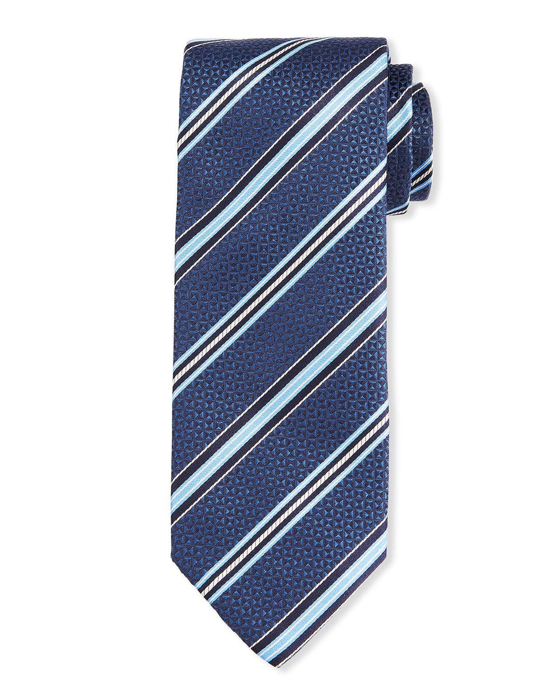Men's Geometric Stripe Silk Tie