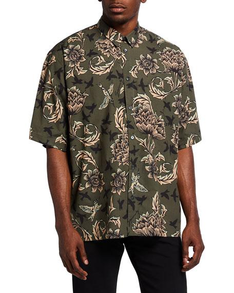 Givenchy Men's Floral Astro-Print Sport Shirt
