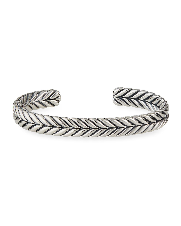 Men's 9mm Sterling Silver Chevron Cuff Bracelet