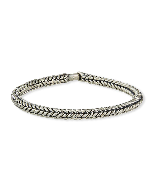 Men's 6mm Silver Chevron Bead Bracelet