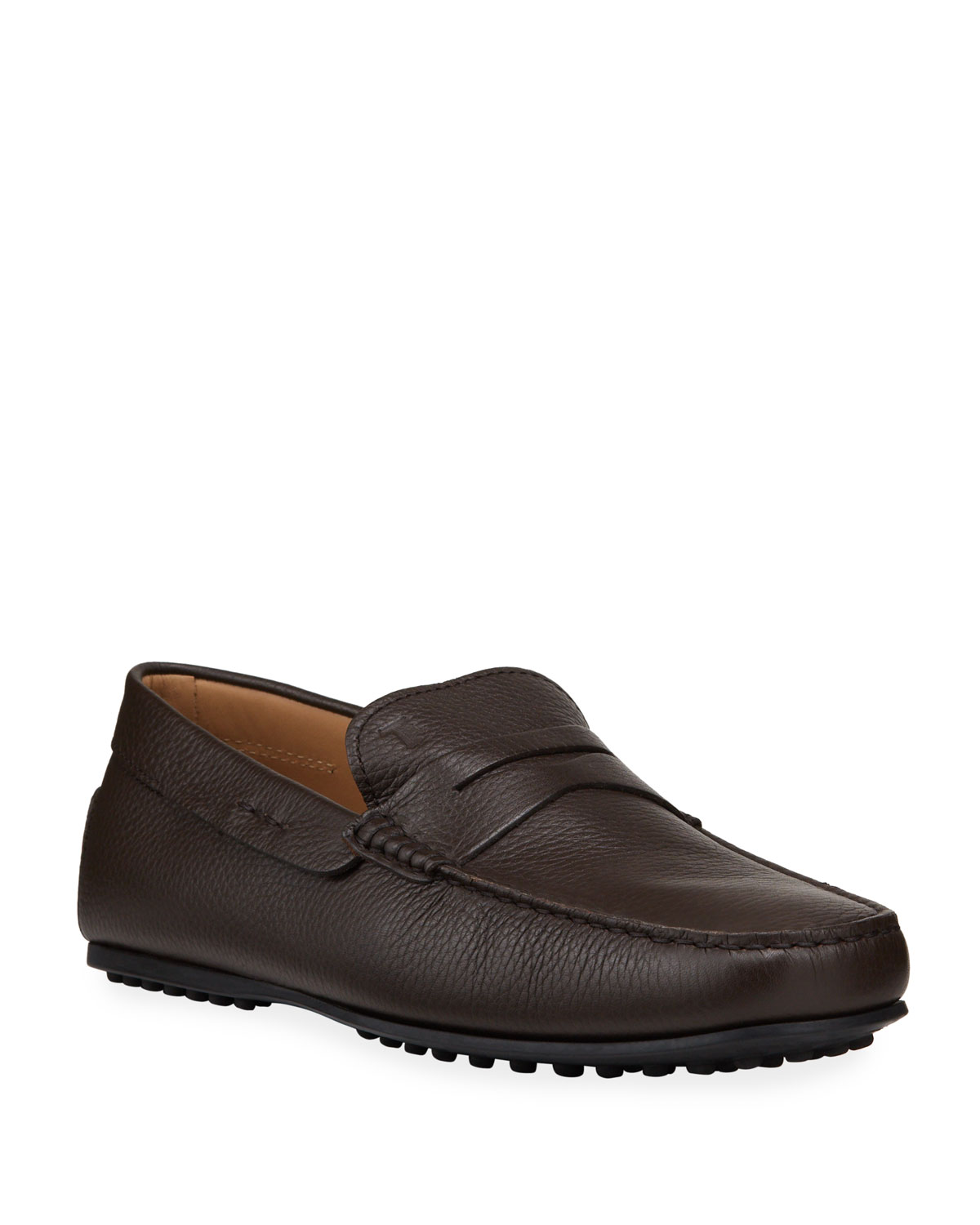 Tod's MEN'S CITY GOMMINO HAMMERED LEATHER PENNY DRIVERS