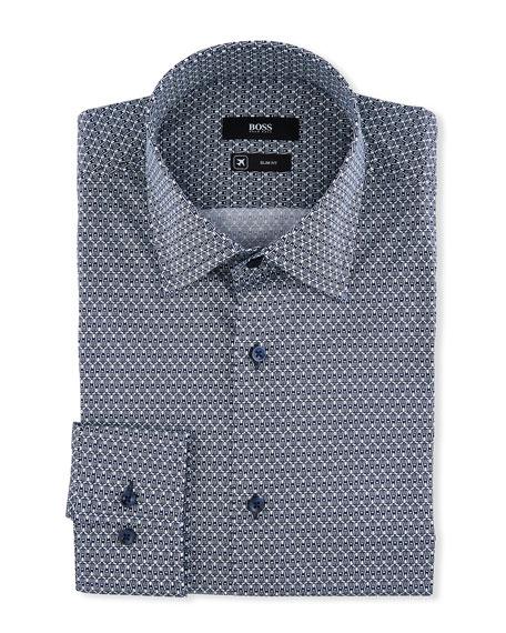 BOSS Men's Slim Fit Racquet-Print Dress Shirt