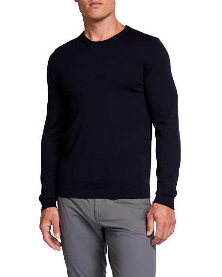BOSS Men's Solid Wool Crewneck Sweater