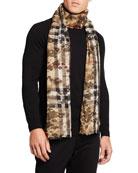 Burberry Men's Camo Giant Check Wool-Silk Scarf