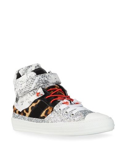 Men's Mixed-Media High-Top Sneakers