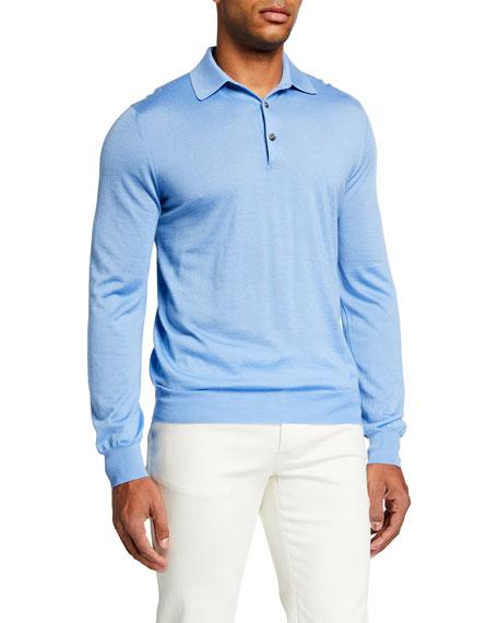 Brioni Men's Solid Cashmere-Silk Polo Shirt
