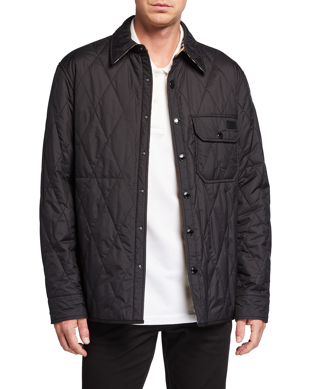 Burberry MEN'S CRESSWELL REVERSIBLE DIAMOND QUILTED SHIRT JACKET