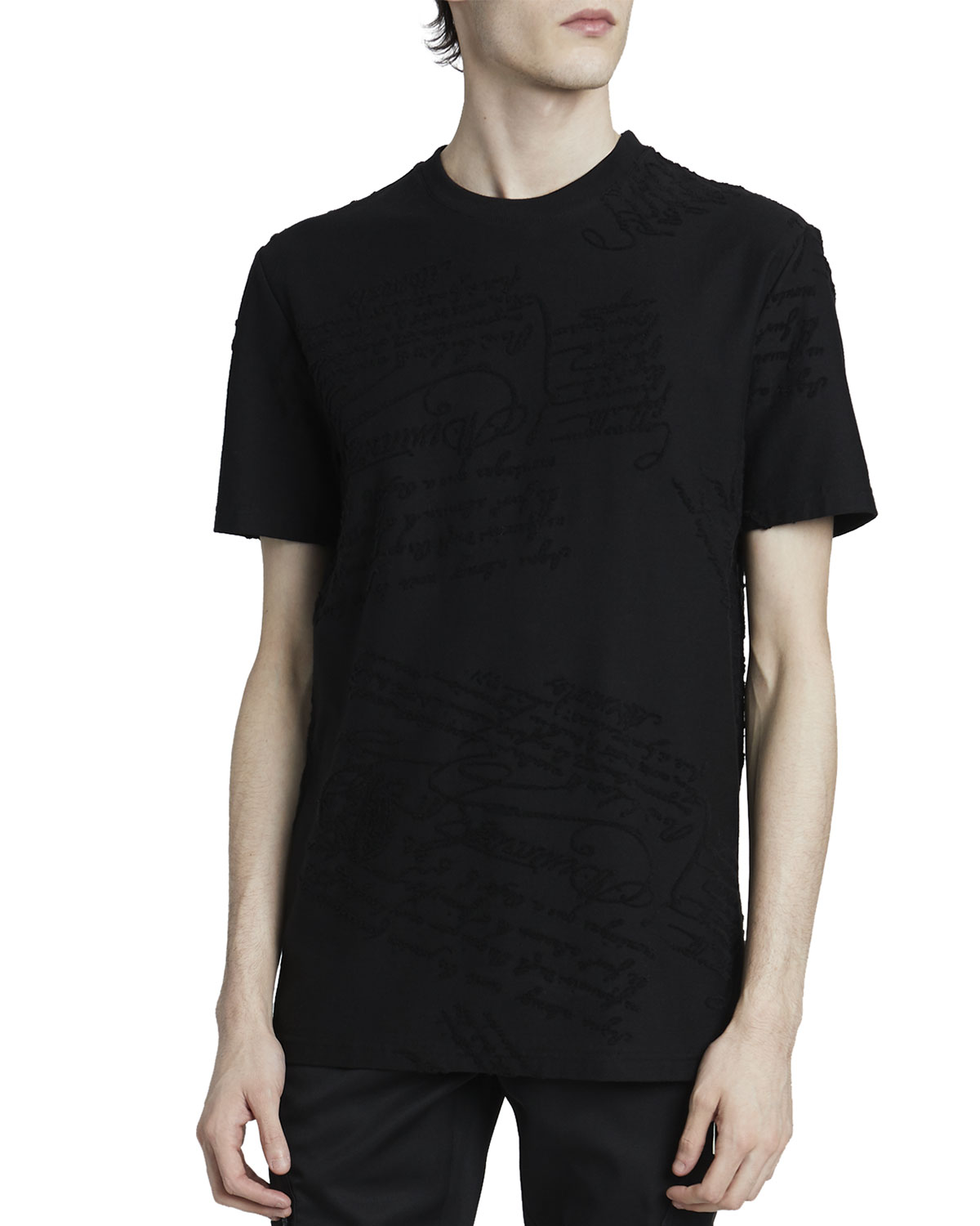 Men's Solid Scritto Stamp T-Shirt