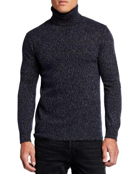 Neiman Marcus Cashmere Collection Men's Melange Cashmere Turtleneck Sweater