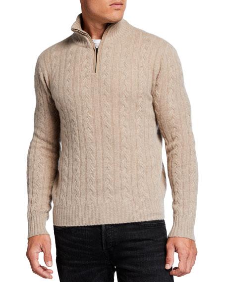Neiman Marcus Cashmere Collection Men's Cable Quarter-Zip Sweater w/ Suede Trim