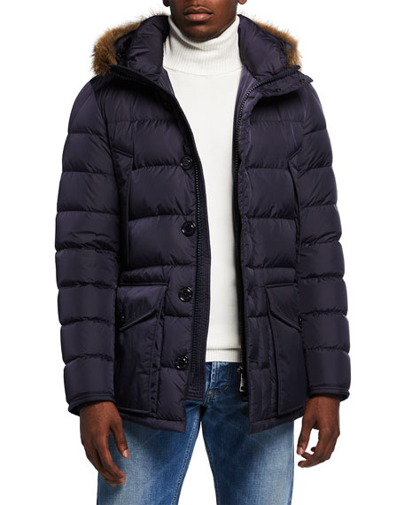 Moncler Men's Cluny Quilted Puffer Jacket w/ Fur Trim