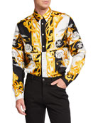 Versace Men's Baroque Silk Sport Shirt