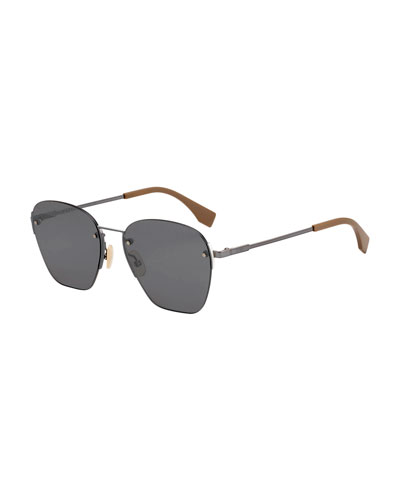 Men's Rimless Geometric Metal Sunglasses