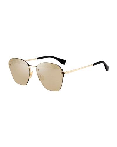 Men's Mirrored Rimless Geometric Metal Sunglasses