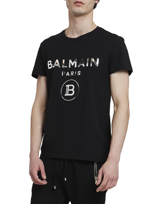 Balmain MEN'S FOIL LOGO T-SHIRT