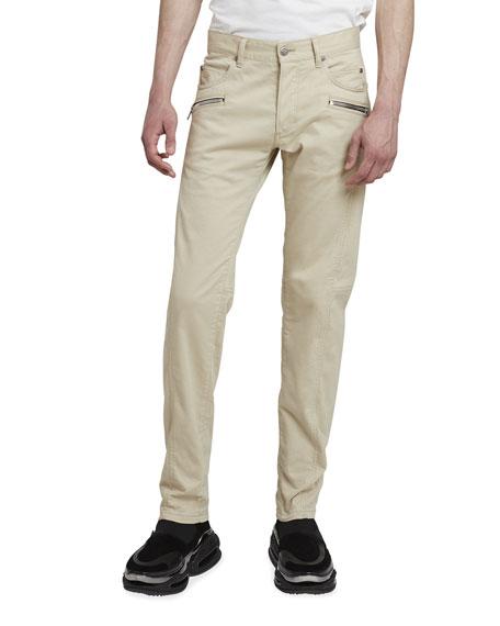 Balmain Men's Tapered Moleskin Zip-Pocket Pants