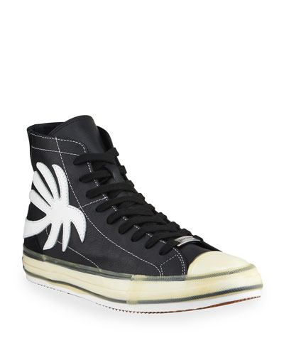 Men's Palm Tree Vulcanized High-Top Sneakers