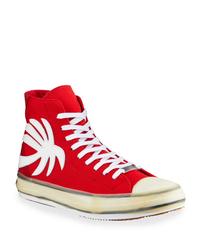 Men's Palm Tree Canvas High-Top Sneakers