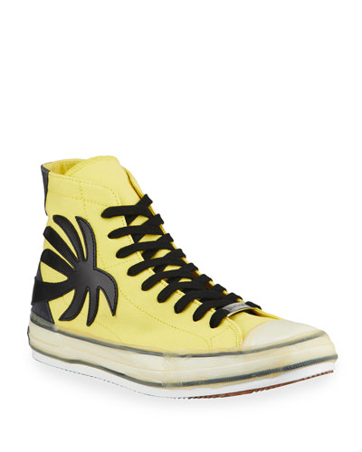 Men's Palm Tree Canvas High-Top Sneakers, Yellow