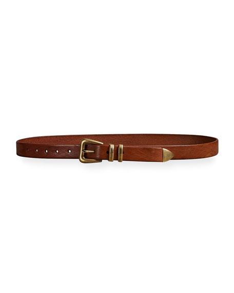 Brunello Cucinelli Men's Textured Leather Belt