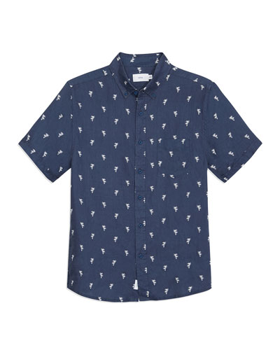 Men's Jack Patterned Linen Sport Shirt
