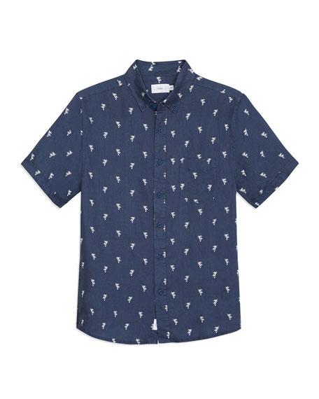 Onia Men's Jack Patterned Linen Sport Shirt