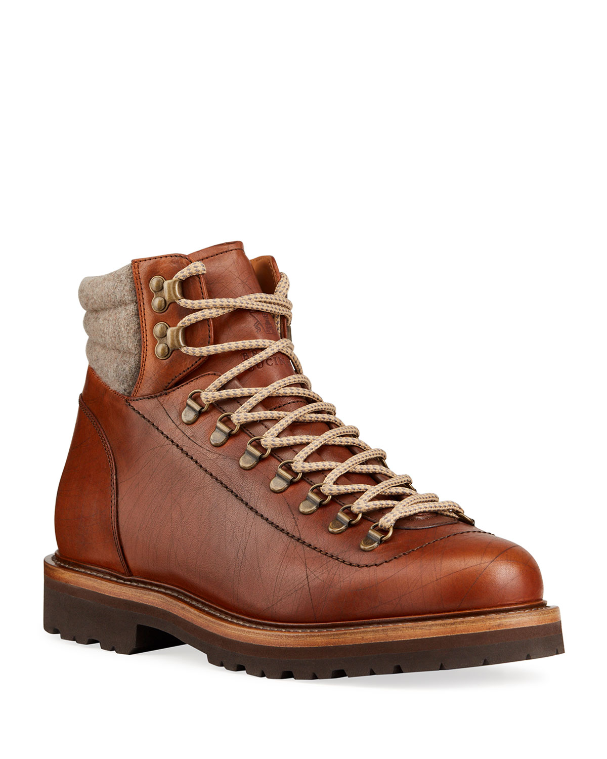 Brunello Cucinelli MEN'S LEATHER HIKING BOOTS