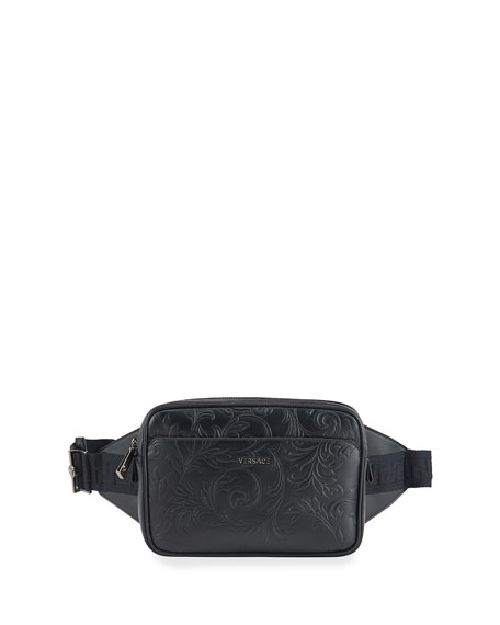 Versace Men's Leather Barocco Belt Bag