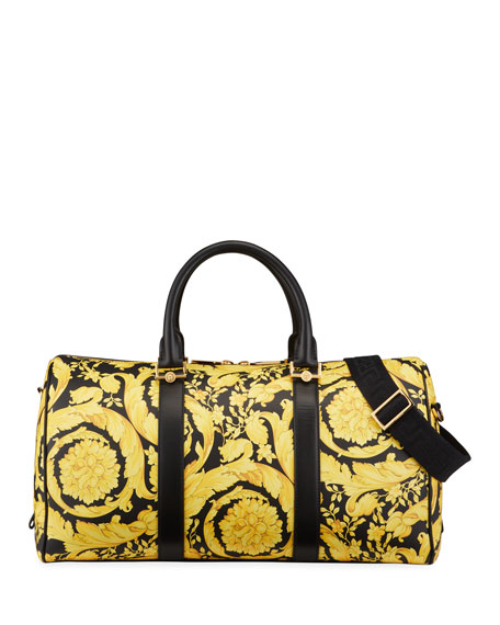 Versace Men's Barocco Leather Duffel Travel Bag