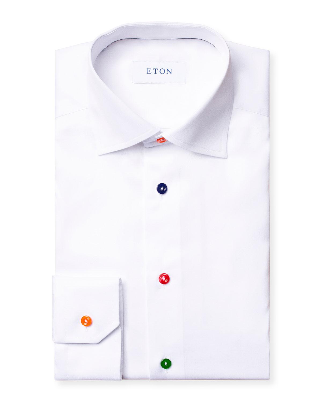 Eton Cottons MEN'S MULTICOLOR-BUTTON CONTEMPORARY-FIT DRESS SHIRT