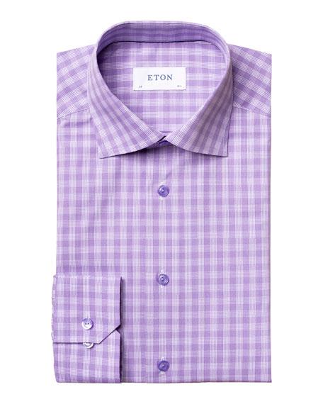 Eton Men's Contemporary-Fit Check Cotton Dress Shirt