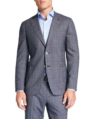 Men's Plaid Wool Two-Piece Suit