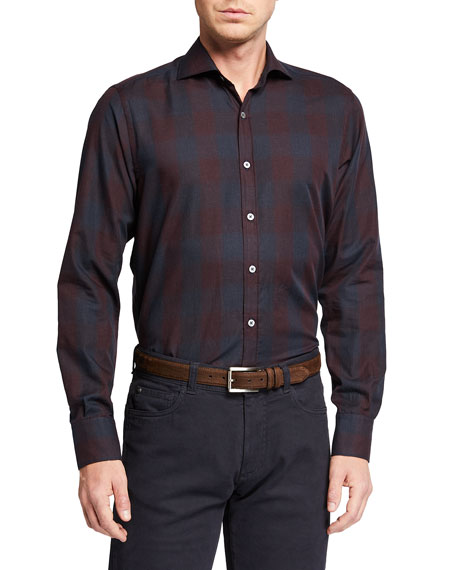 Canali Men's Plaid Cotton Sport Shirt