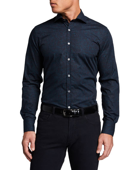 Canali Men's Mixed-Print Sport Shirt