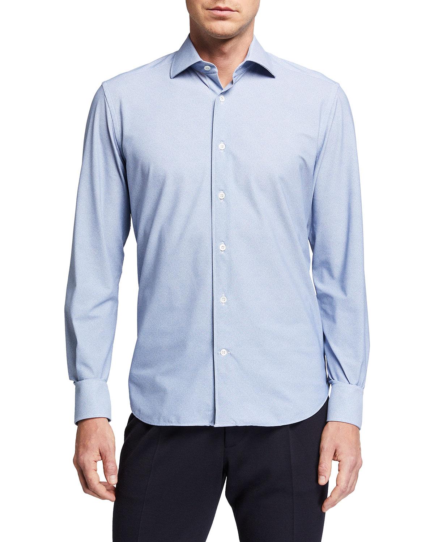 Corneliani MEN'S CLASSIC-FIT SOLID TECH DRESS SHIRT