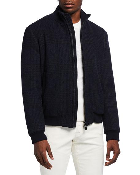 Corneliani Men's Tonal Plaid Bomber Jacket