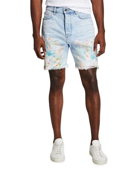 Amiri Men's Floral Leaf Denim Shorts