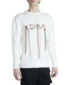 Loewe Men's Stitched-Logo Sweater with Fringe