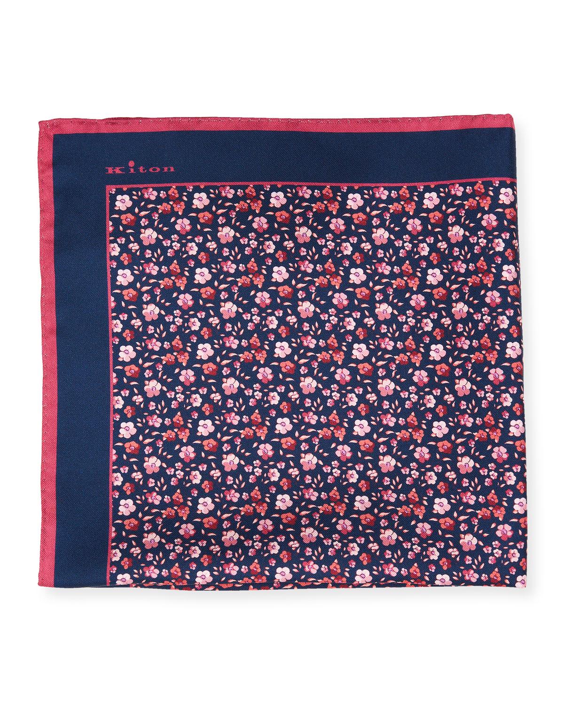 Men's Silk Floral Print Pocket Square