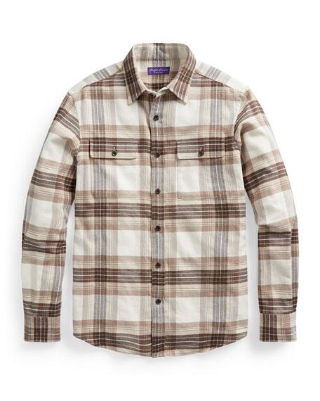 Ralph Lauren Purple Label Men's Cooper Plaid Work Shirt w/ Suede Elbow Patches