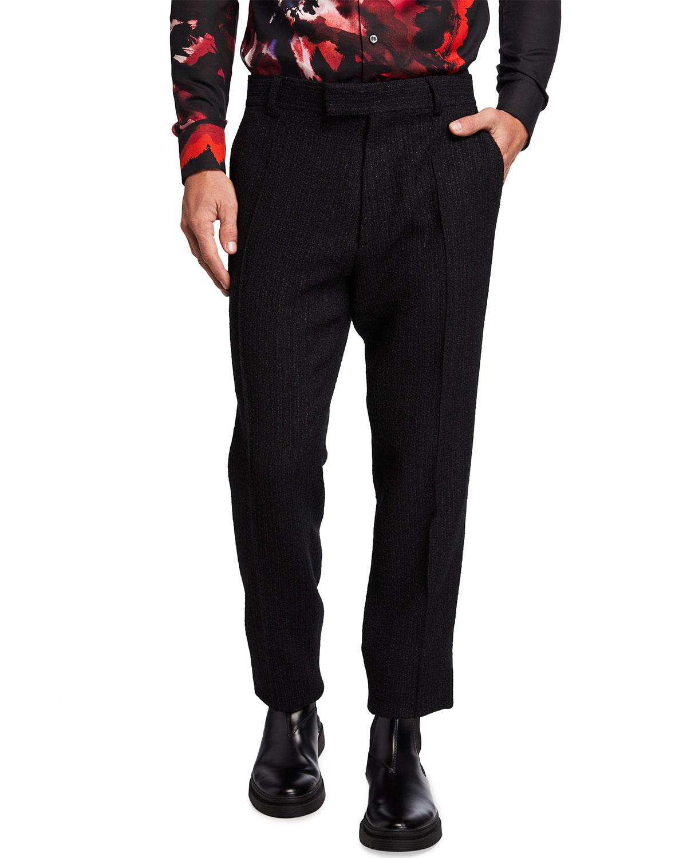 Men's Straight-Leg Boucle Wool-Blend Pants