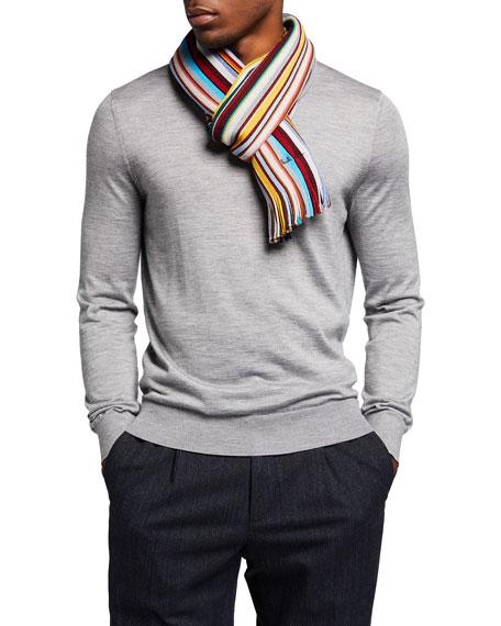 Paul Smith Men's Multi-Stripe Wool Scarf