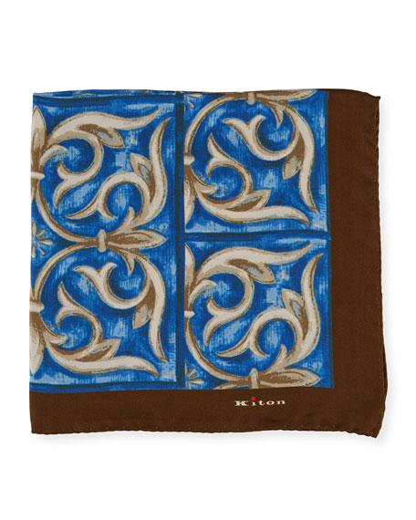 Kiton Men's Fleur-de-Lis Silk Pocket Square
