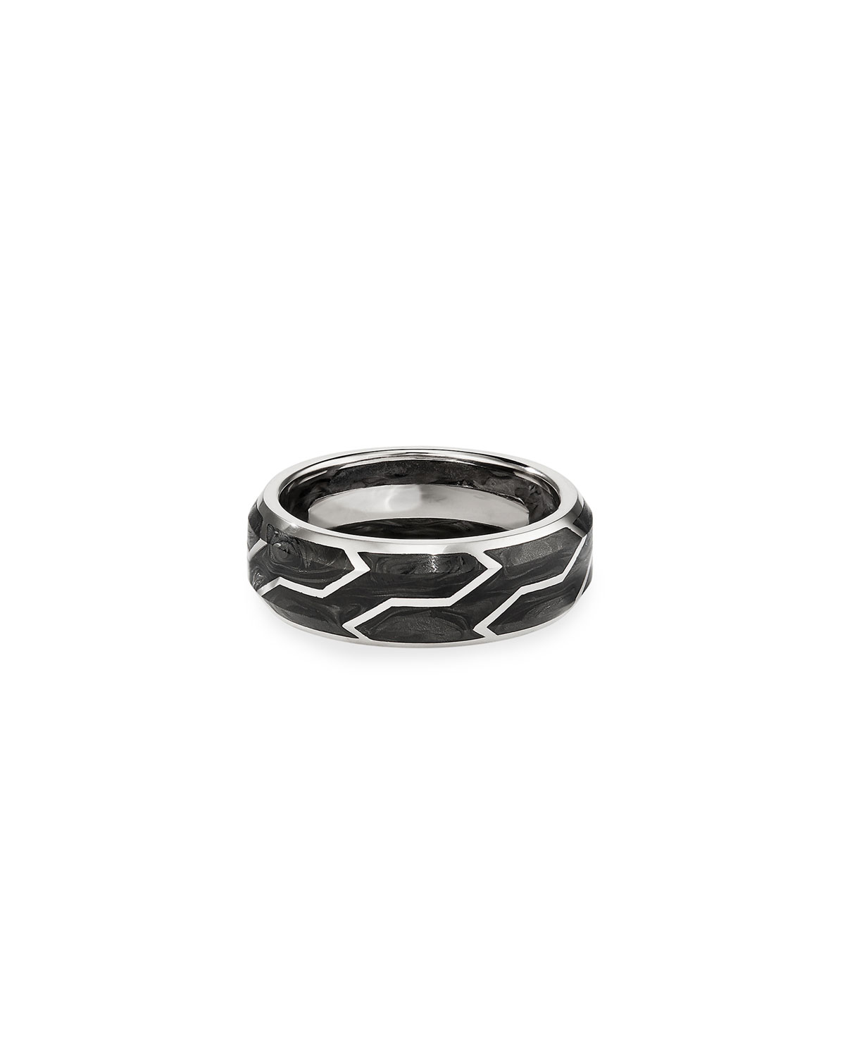 Men's Forged Carbon/18k White Gold Band Ring