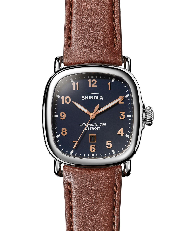 Men's 41.5mm Guardian Watch w/ Leather Strap