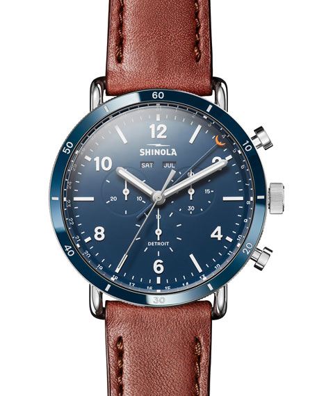 Shinola Men's 45mm Canfield Chronograph Watch w/ Leather Strap