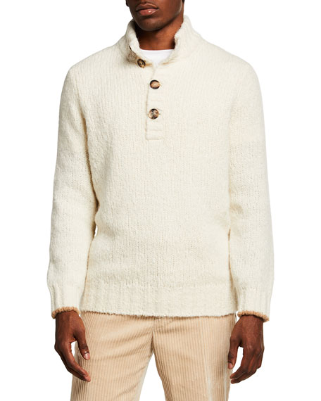 Brunello Cucinelli Men's Chunky Button-Front Pullover Sweater