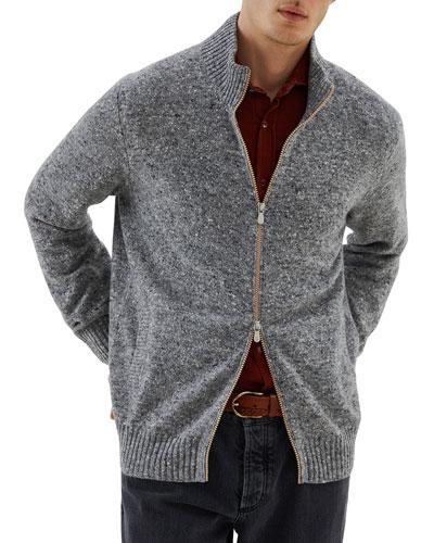 Front Zip Wool Cashmere Sweater | Neiman Marcus